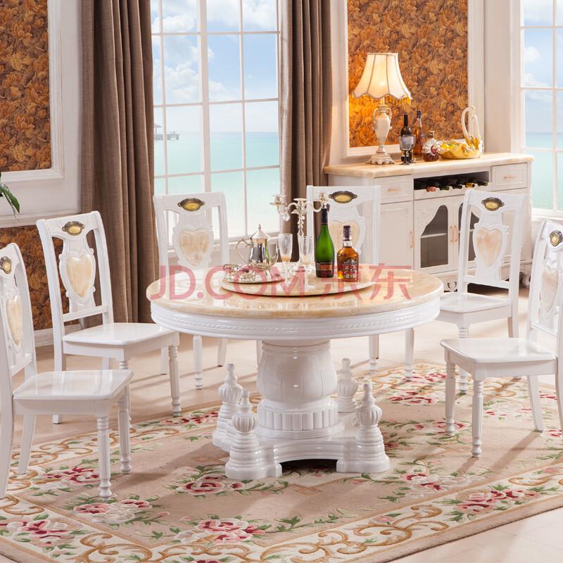 凯莉莎 天然大理石圆餐桌 欧式简约实木餐桌 法式田园图片