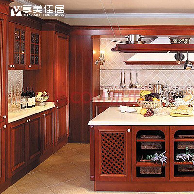 享美佳居实木橱柜进口美国红橡厨房装修整体厨柜定做定制石英石台面