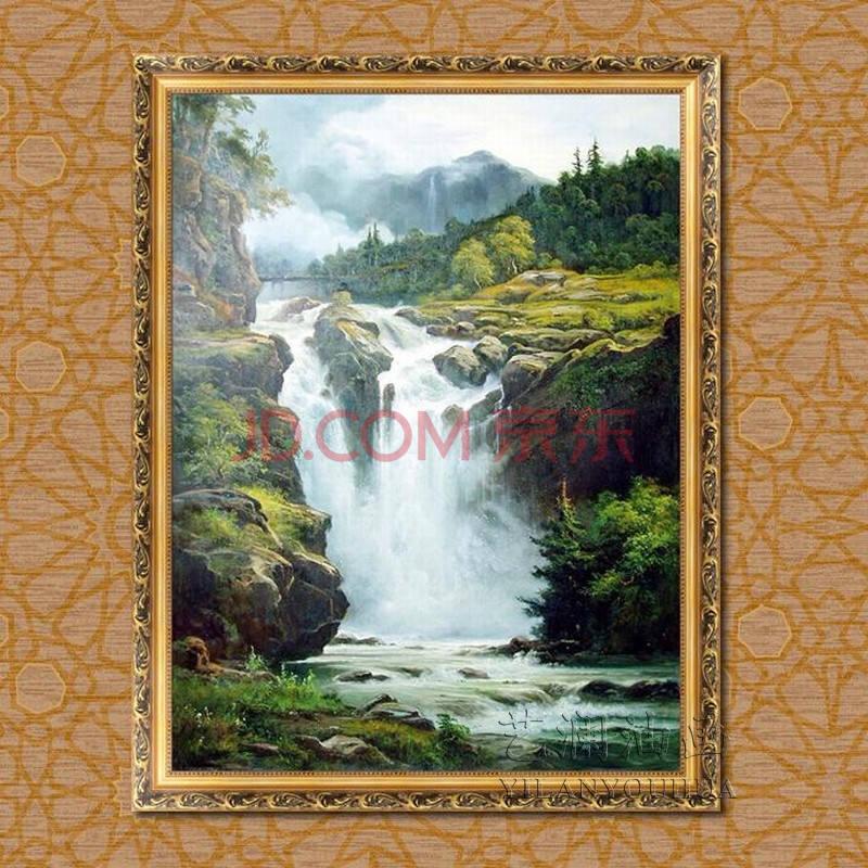 艺澜山水风景纯手绘油画 瀑布自然美景客厅玄关家居装饰品画专业定制f