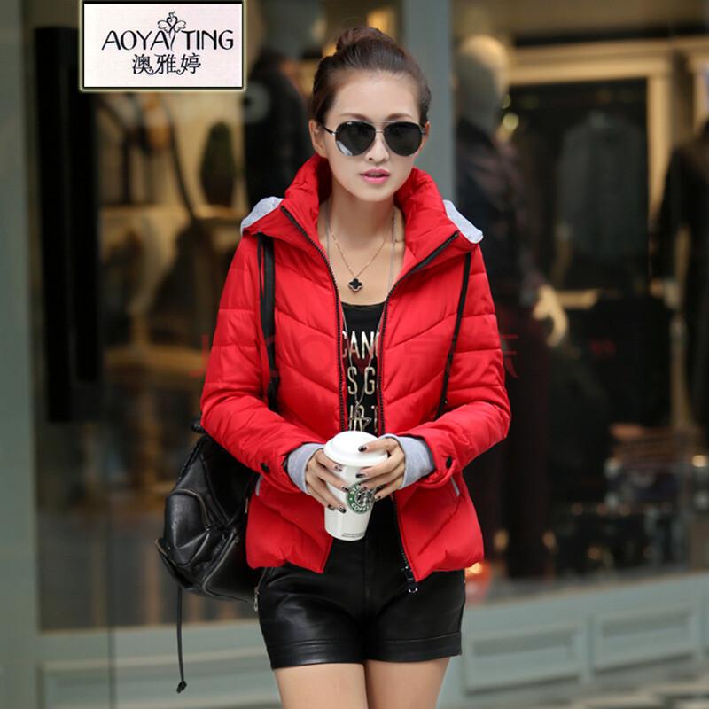 澳雅婷 2014韩版新款中学生棉衣大码棉袄加厚棉服外套女 ayt803 红色图片