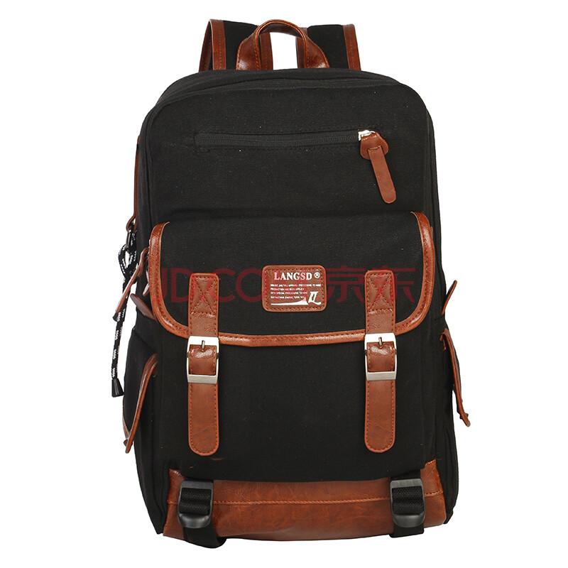 新款双肩包 新款包包帆布包背包女士双肩背包书包 女韩版潮 6011 黑色