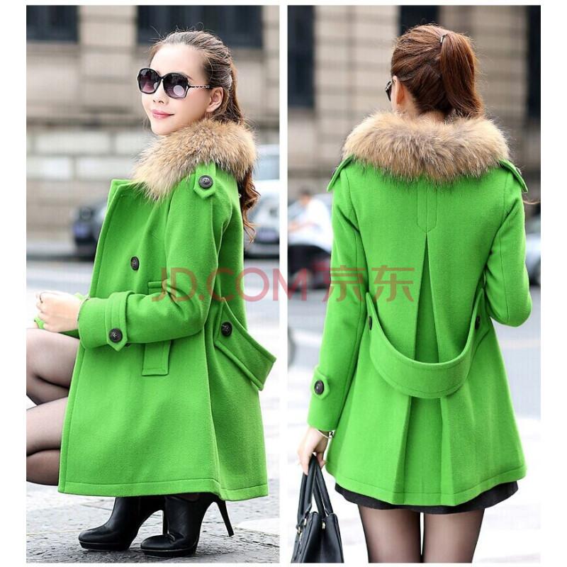 羊毛呢大衣外套女 浅绿色