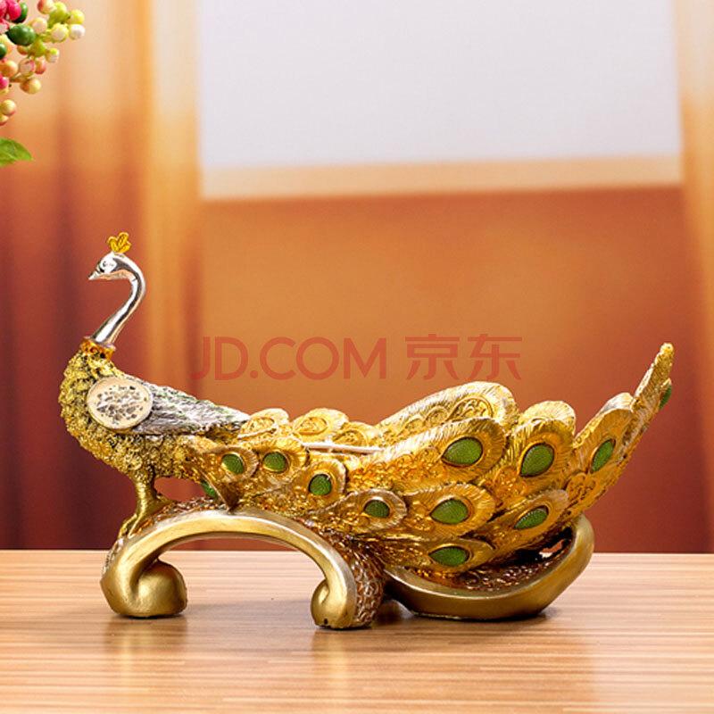 金边富贵孔雀 果盘 树脂工艺品 桌面摆件 动物摆件 树脂摆件 家居装饰