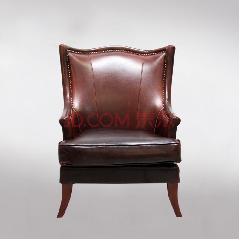 乐家巢家具 美式实木牛皮单人沙发 客厅/卧室休闲椅 酒店高级椅子
