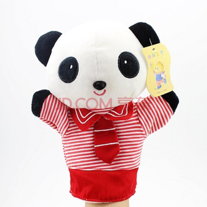 可爱卡通小猴子熊猫小鸡绵羊手偶手套玩偶毛绒安抚娃娃宝宝玩具 红色图片