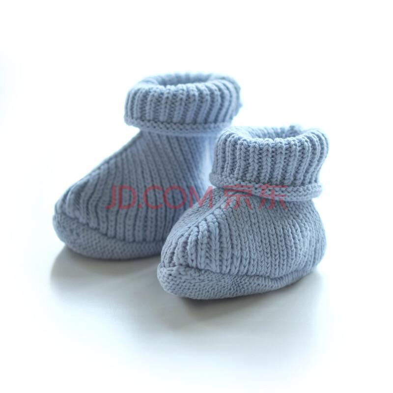 papa 秋冬纯棉婴儿毛线脚套 宝宝小鞋子 婴儿鞋双层脚套0-12个月 蓝色