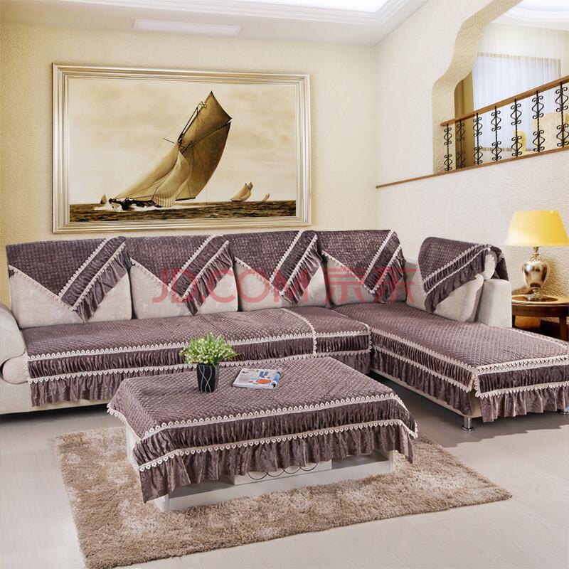 豹纹沙发垫布艺 棉麻沙发垫 布艺