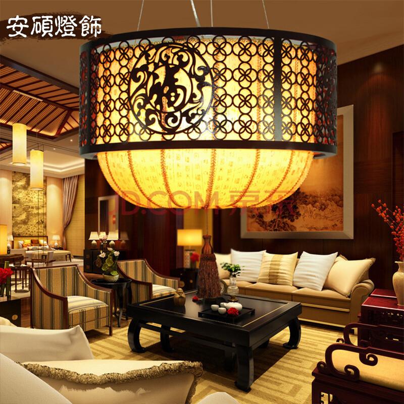 正品安硕 现代新中式吊灯 餐厅灯书房卧室实木羊皮灯具特价 包邮 60*
