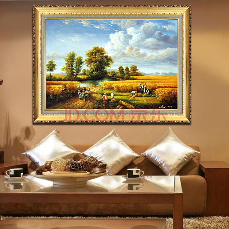 《金秋麦田》欧式客厅风景画 纯手绘油画 现代客厅装饰画 玄关过道挂