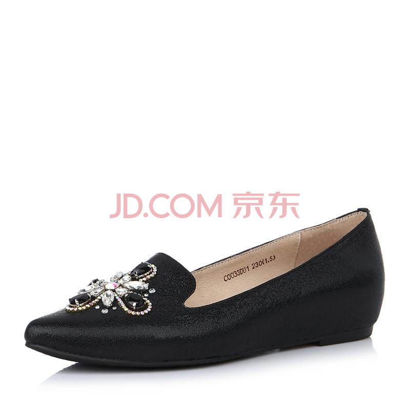senda/森达幻彩牛皮女单鞋春季c0033aq5时尚尖头休闲女鞋 黑色 40图片