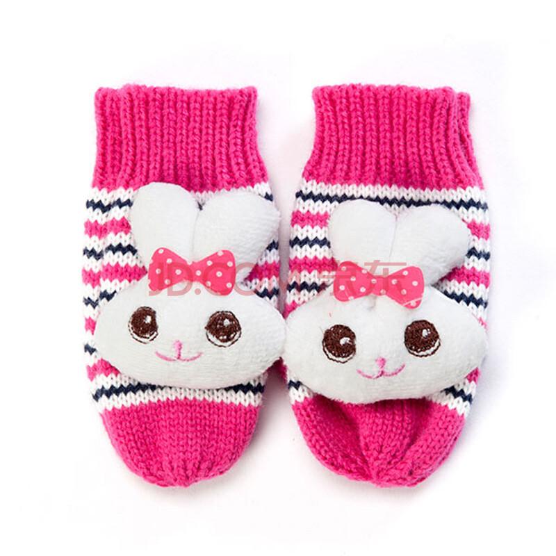 歌瑞凯儿儿童冬季加厚手套女童加厚针织手套女可爱保暖手套 混码