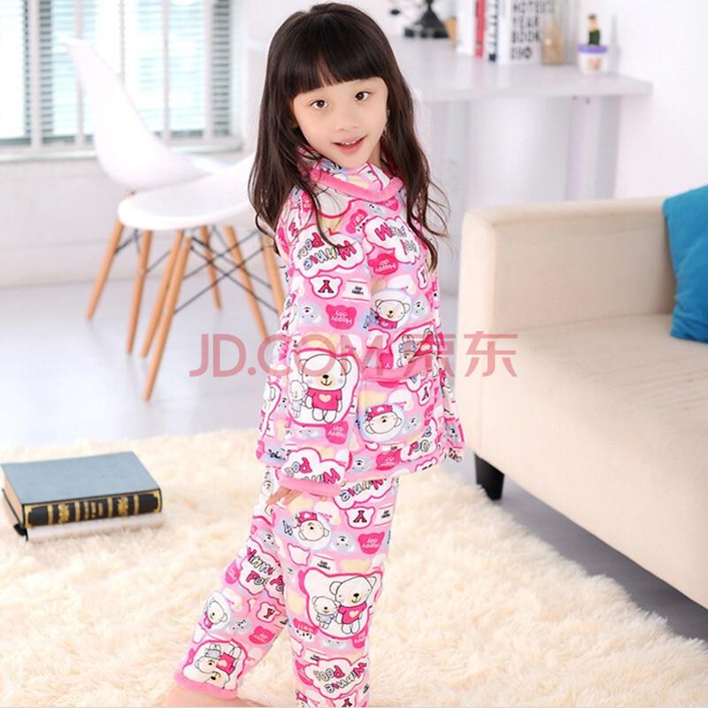 大嘴猴珊瑚绒加厚夹棉睡衣儿童睡衣女大童家居服套装