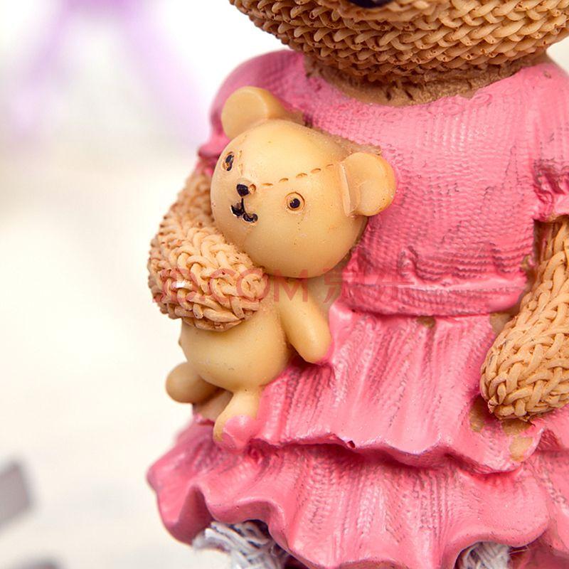 致景生活吊脚小熊 树脂情侣摆件 一对 可爱小熊
