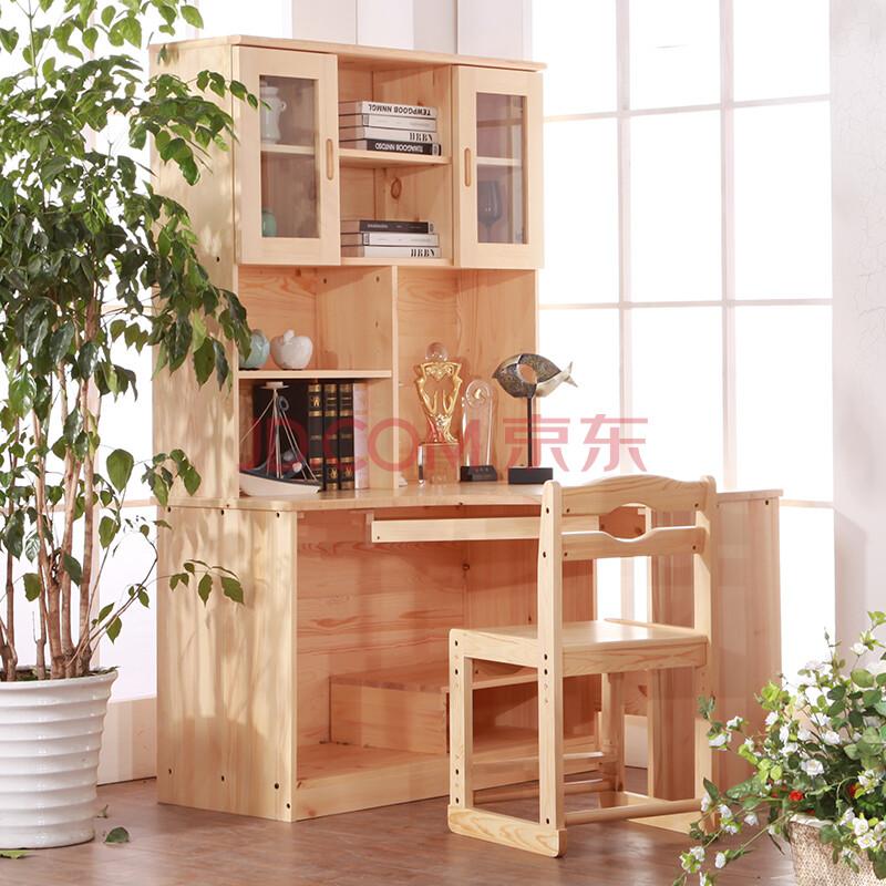 森林雅苑松木转角书桌书柜电脑桌 实木烤漆 多功能写字台 圆弧形 儿童