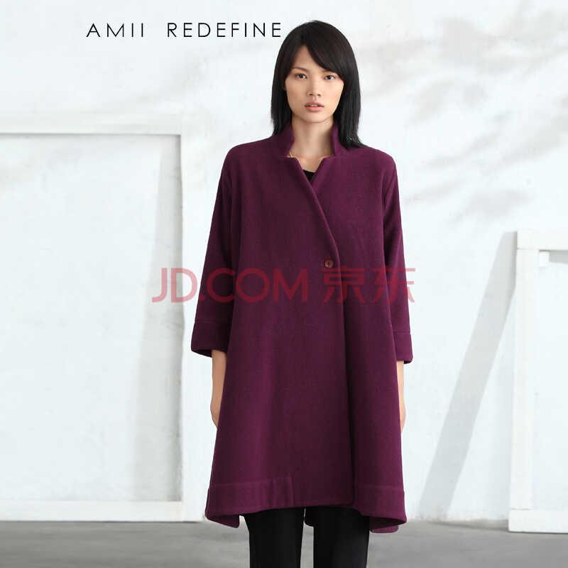 AmiiRedefine2015冬新款女装立领九分袖大码羊毛呢外套女61470727 紫色 L