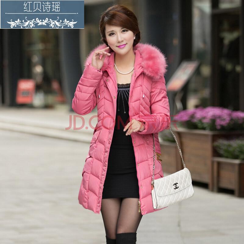 帽配腰带棉衣女款 粉红色