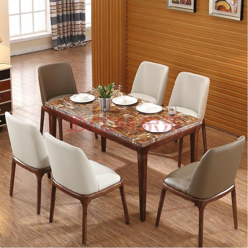 马氏皇庭 水曲柳实木餐桌 现代北欧简约大理石餐桌椅组合 饭桌 t508图片