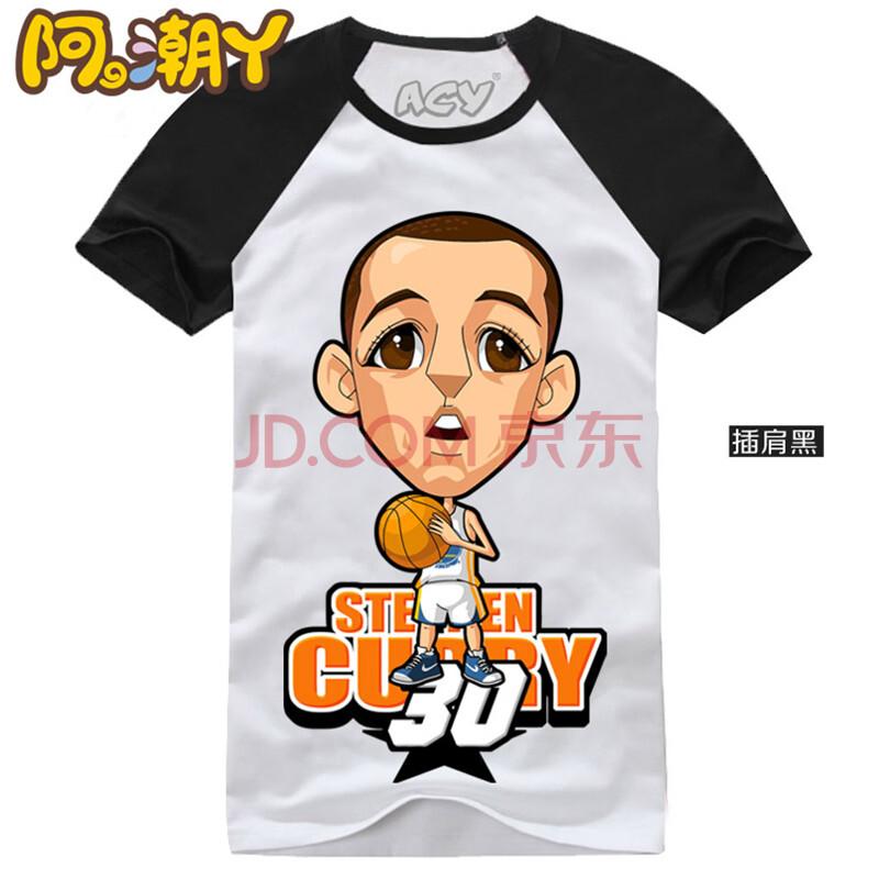 夏款短袖t恤圆领q版卡通t恤篮球运动nba斯蒂芬·库里