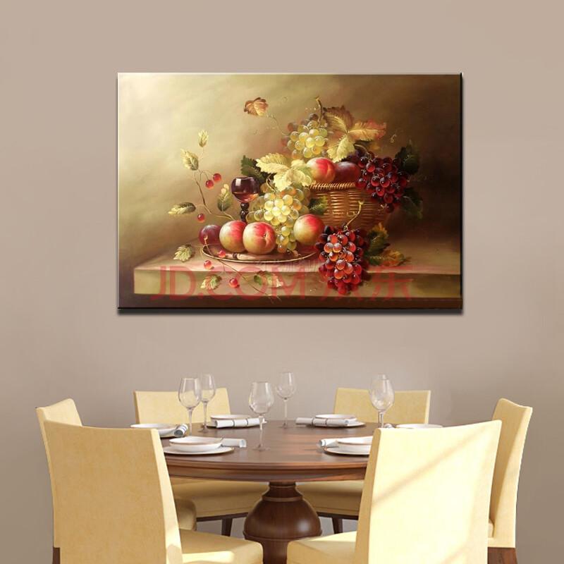 麦画 欧式餐厅手绘油画 复古欧式写实静物水果画 餐馆酒店装饰画 壁画