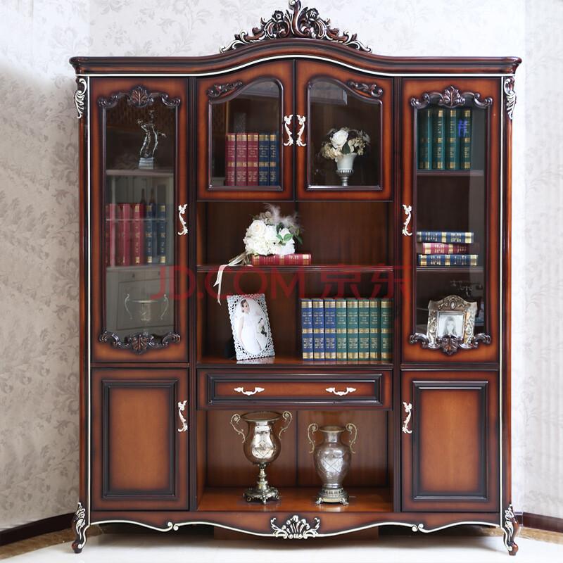 爱绿居 欧式实木书柜装饰柜 法式雕花四门书柜 奢华田园风书柜子 咖啡