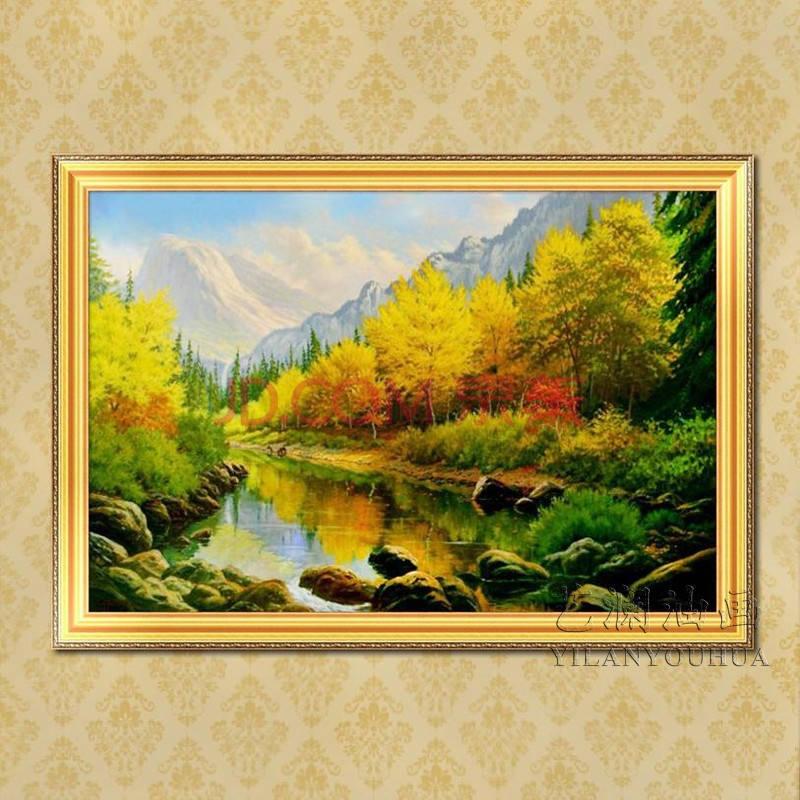 艺澜高档欧式古典纯手绘山水风景油画 别墅客厅卧室家居装饰挂画fj78