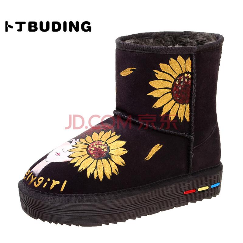 卜丁手绘向日葵真皮女雪地靴 厚底增高牛皮靴子 文艺小清新中筒雪地靴