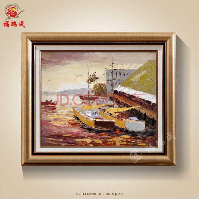 纯手绘装饰画 油画客厅办公室中式风景 水乡系列船上人家 50-60j (4)