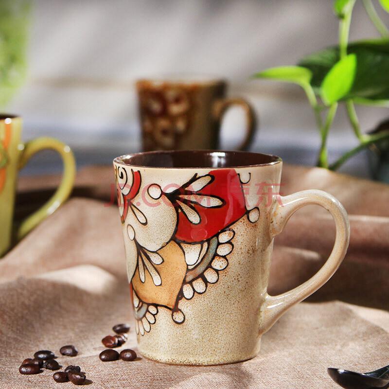 孔雀之美 特色 手绘陶瓷杯子 大号马克杯 个性咖啡杯 复古餐厅茶水杯