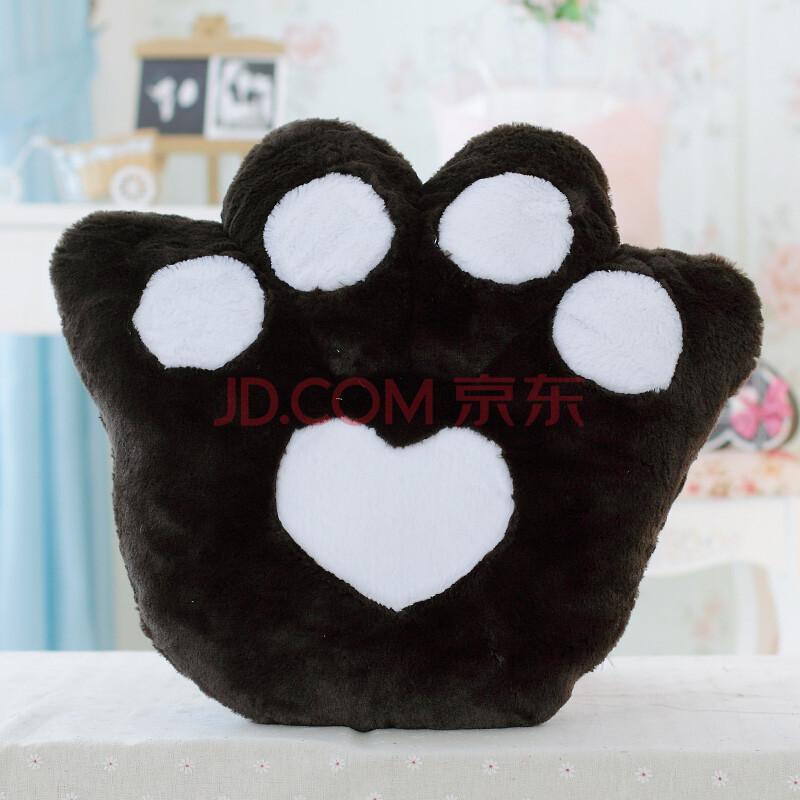 lisabel毛绒玩具可爱熊掌坐垫抱枕靠垫 黑色 大号