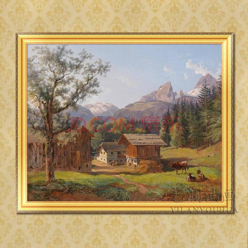 艺澜欧式古典风景小房子动物牛 家居饰品手工油画 收藏画fj95 纯手绘