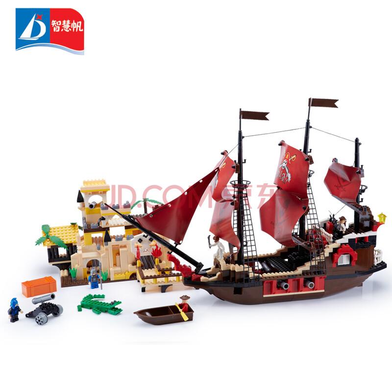 智慧帆拼装模型积木玩具船男女孩子益智拼装帆船夺宝奇兵战舰6合1