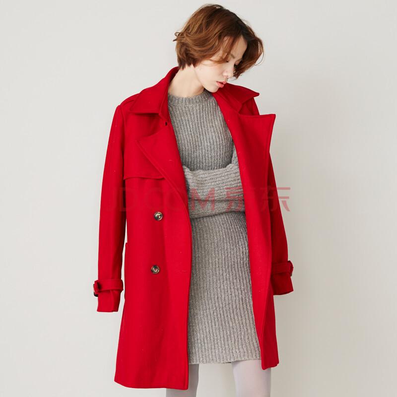 显瘦毛呢大衣外套 深红色