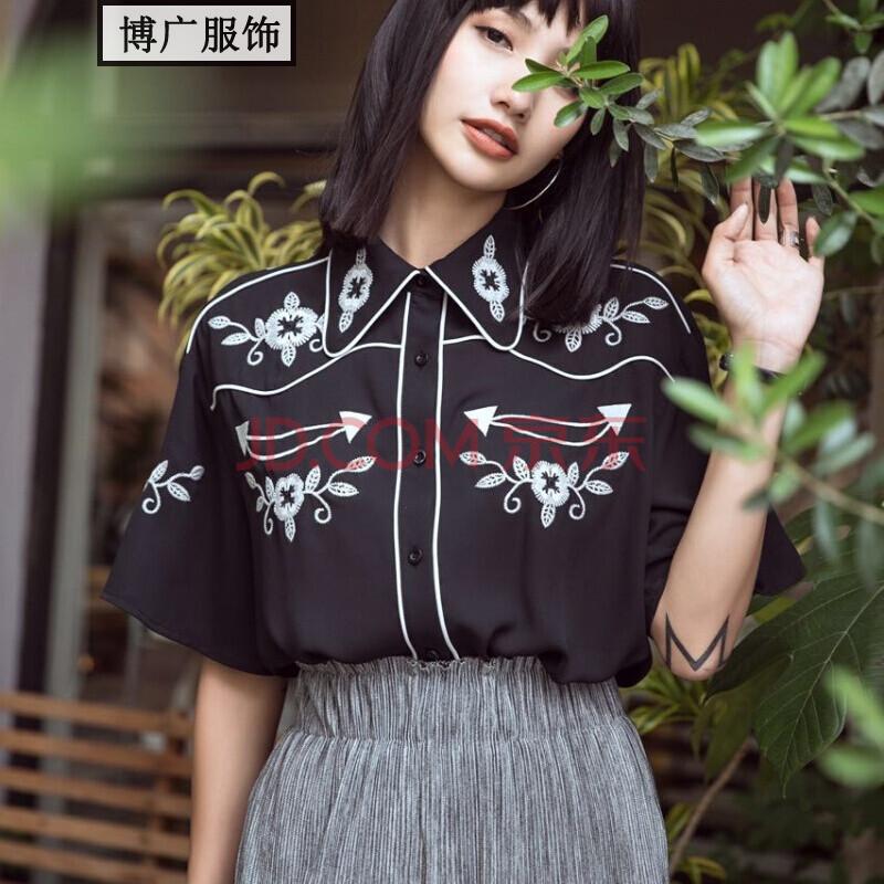 2017新款夏季新款女装单排扣宽松特色黑色刺绣衬衫潮