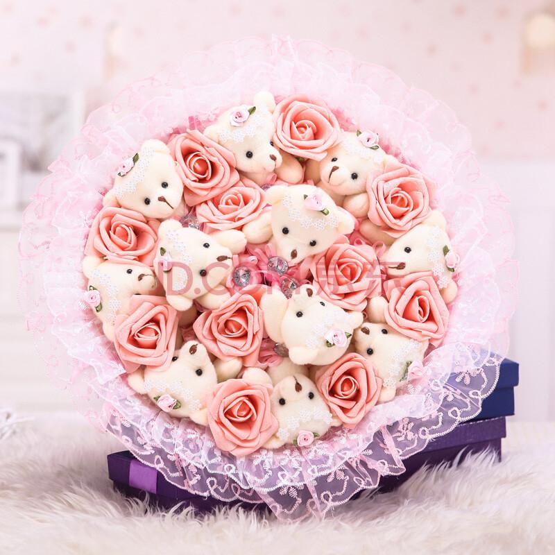 玫瑰花卡通小熊花束