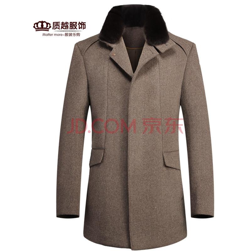 潮流时尚男土羊毛呢大衣修身翻领加厚纯色