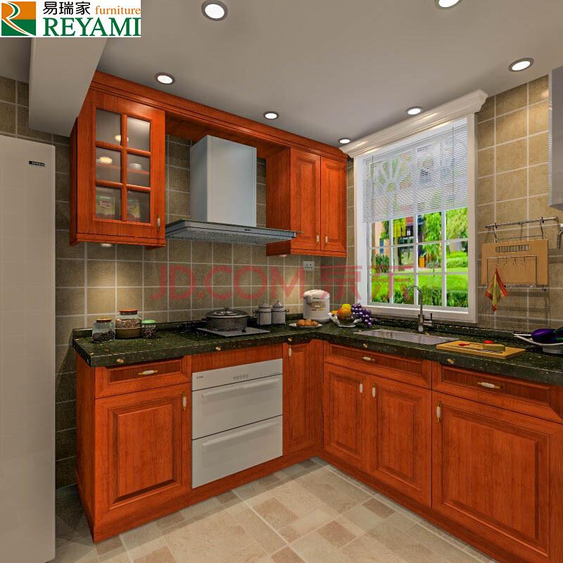 美式橱柜 整体厨房实木橱柜 高档石英石台面 高档五金 3米地柜 1米图片