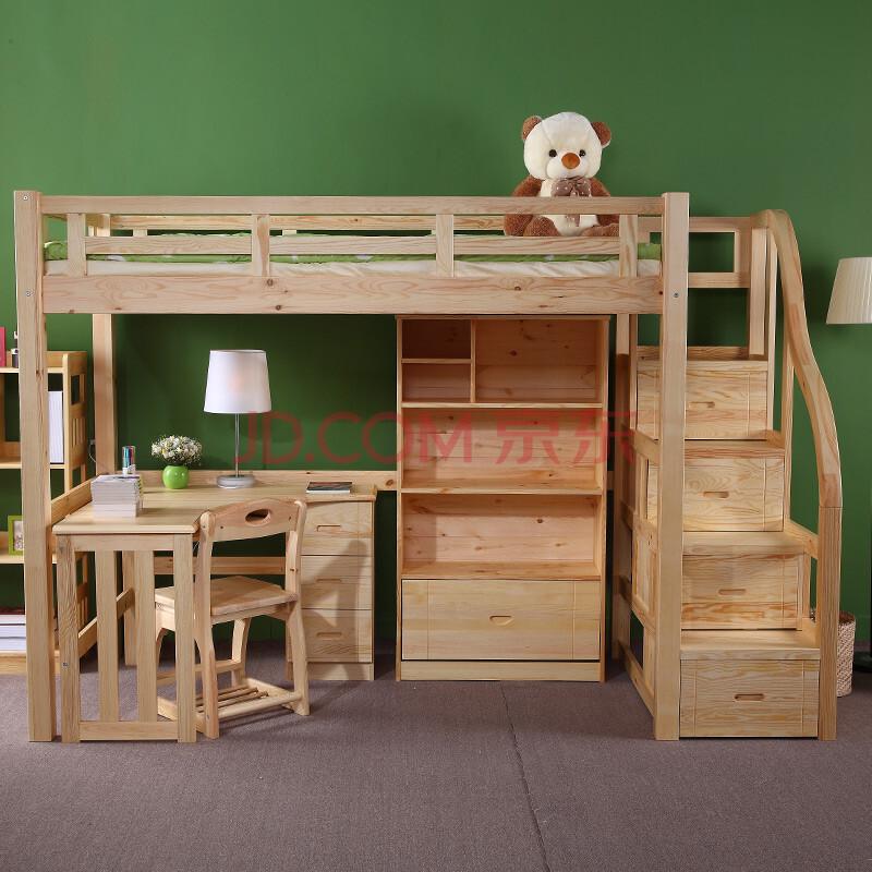 松木床带衣柜带书桌带抽屉