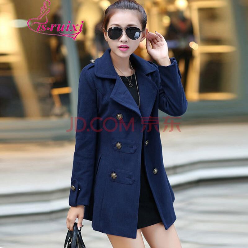 ruixi 2014新款韩版修身女装呢子大衣中长款羊毛呢