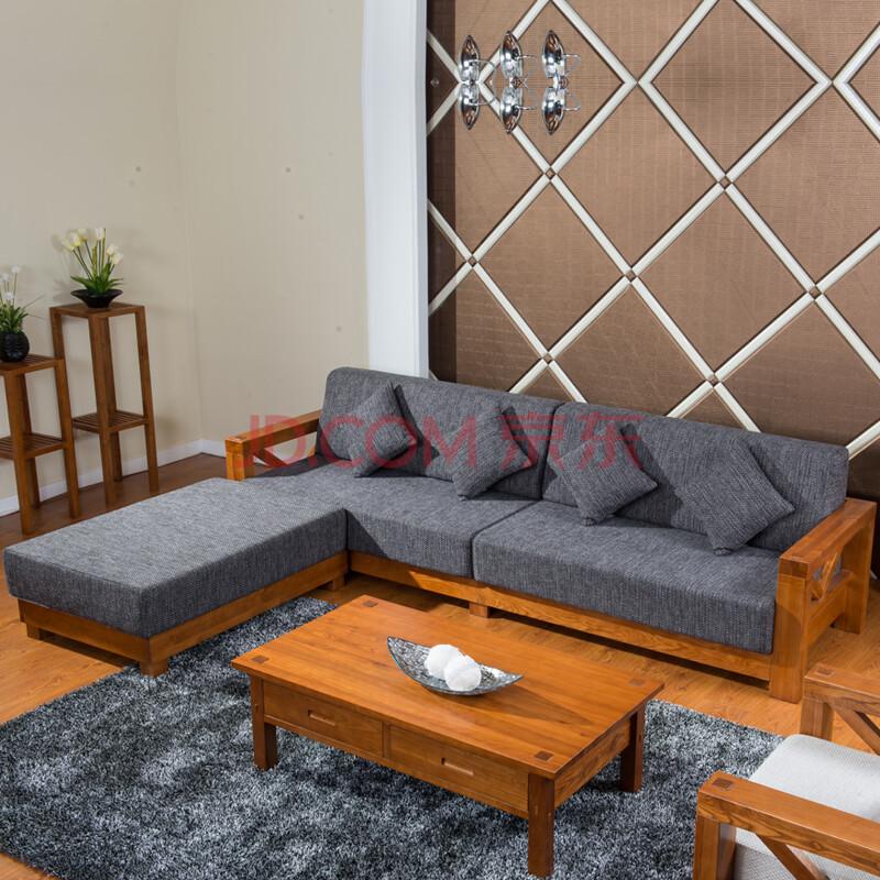 何家匠 水曲柳原木全实木沙发l型贵妃沙发2607q 深灰色