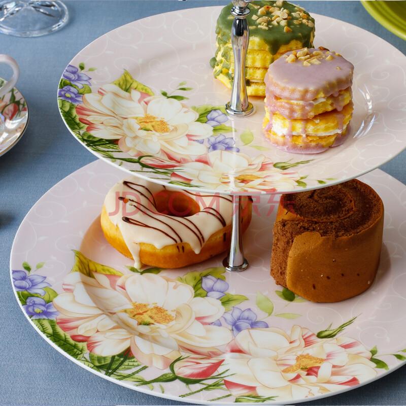 英式双层蛋糕盘田园陶瓷点心盘图片