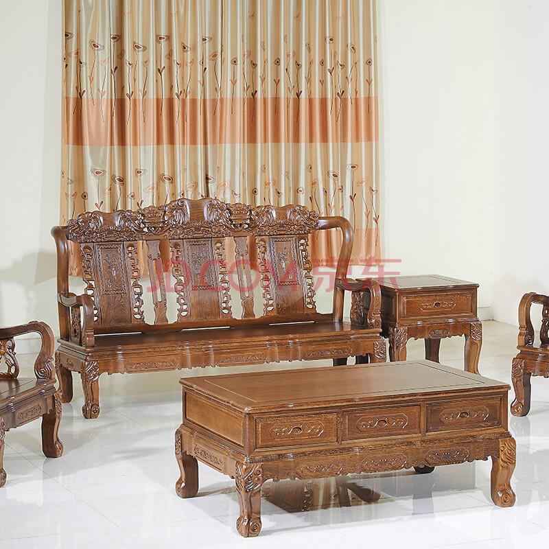 纯小叶鸡翅木沙发 红木沙发红木家具 吉祥如意象头沙发五件套k17 组合