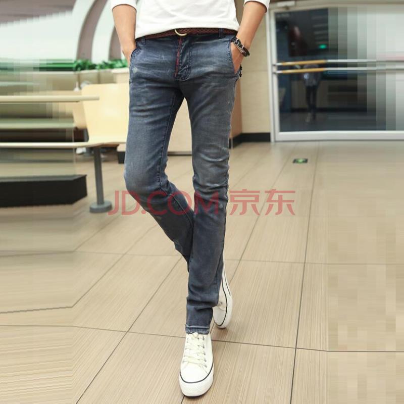 新品 韩版牛仔裤 修身小脚裤男 绿扣子撞色男裤 长裤