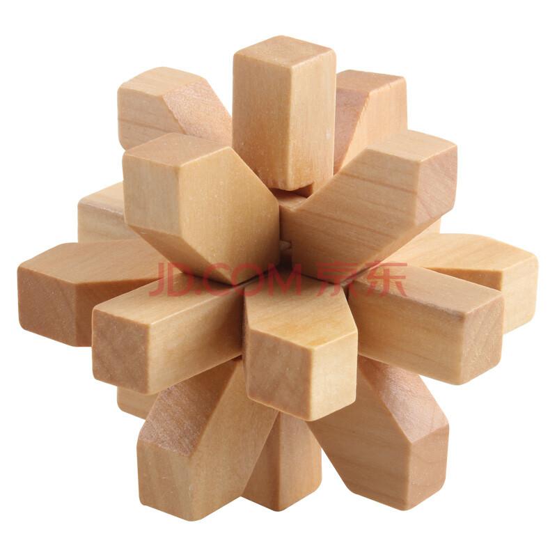汇乐宝儿 成人儿童木制解锁智力玩具孔明锁鲁班锁桌游 梅花锁