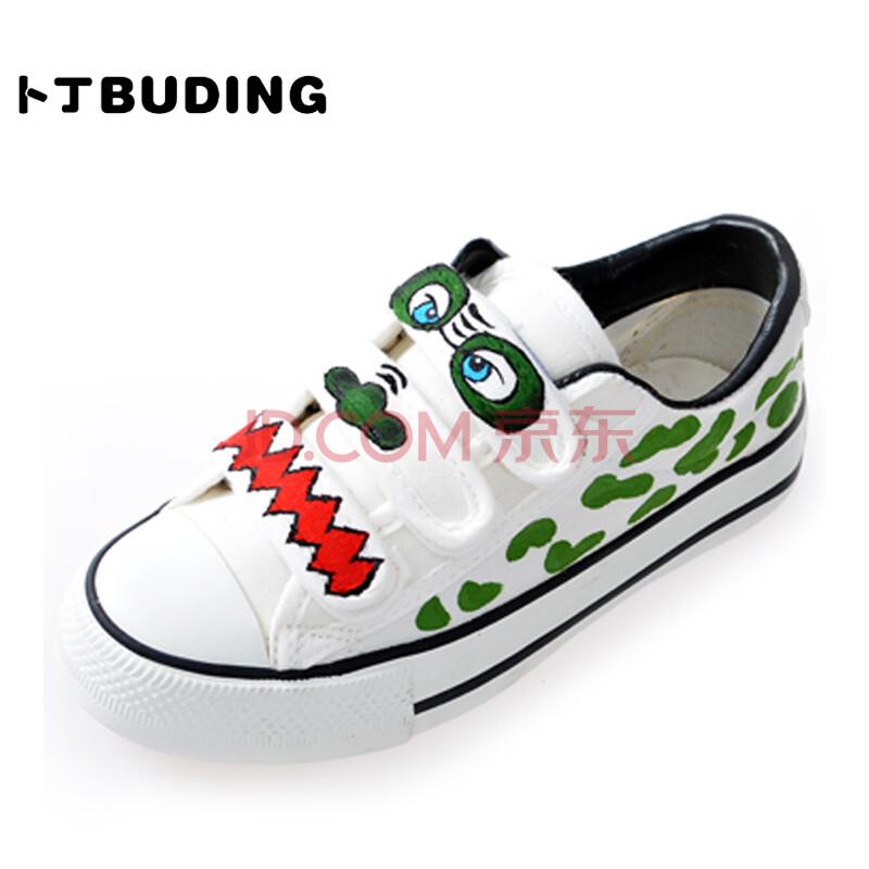 卜丁新款儿童手绘鞋大小童小学生布鞋涂鸦小怪兽帆布鞋板鞋男童女童