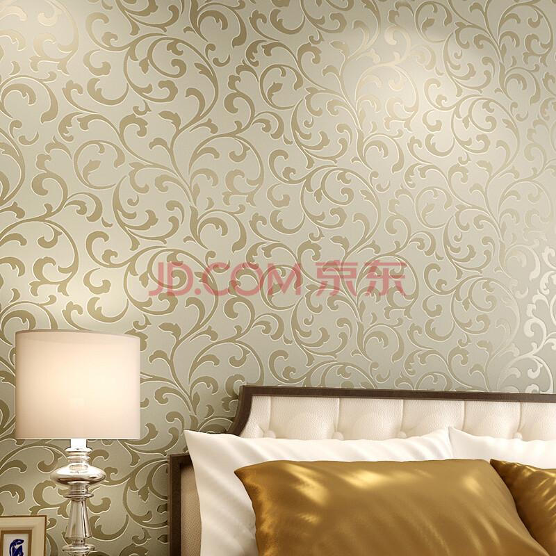 玉兰墙纸欧式植绒环保进口无纺布客厅卧室背景墙纸