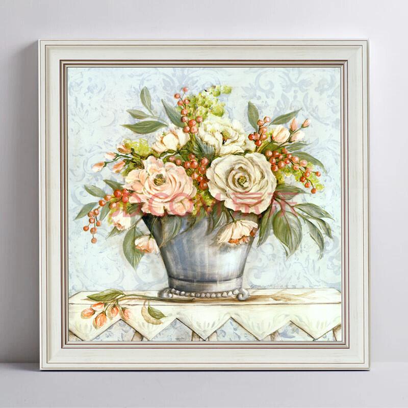 视觉星墙贴装饰画电表箱画卧室床头客厅油画壁画挂件静物古典花卉 c款图片