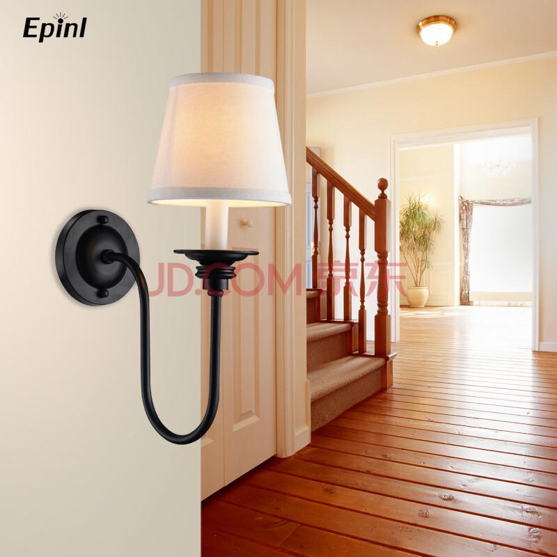 epinl美式乡村风格铁艺床头壁灯镜前灯卧室书房客厅墙面壁灯单头壁灯图片