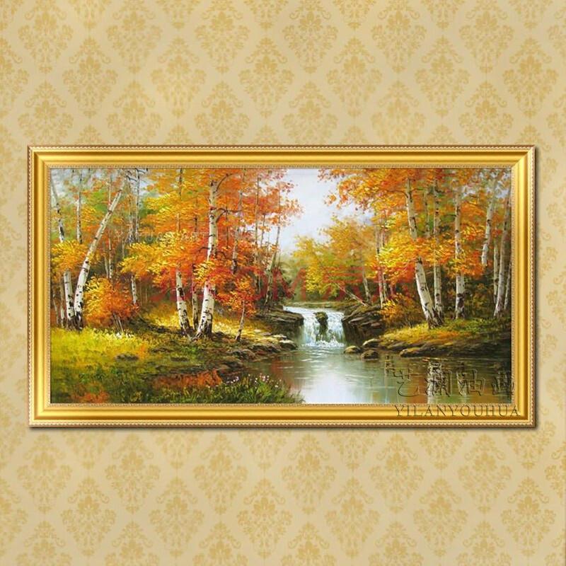 红叶白桦树印象风景油画