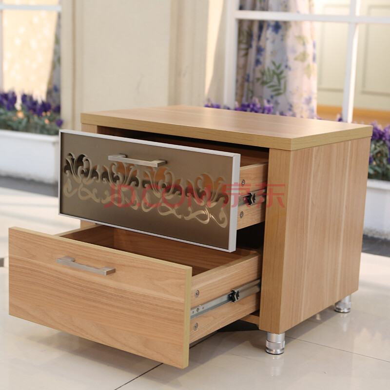 床头柜储物柜收纳柜木质抽屉柜二斗柜(北京免费送货安装) 金丝胡桃木
