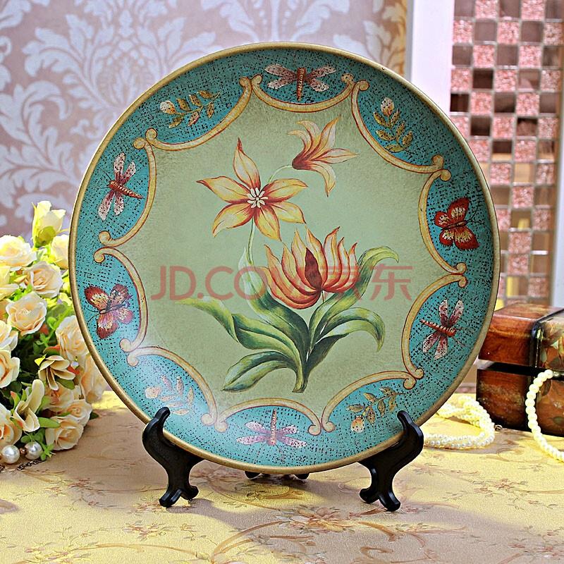 欧式美式乡村复古手绘陶瓷装饰盘摆盘座盘家居饰品品